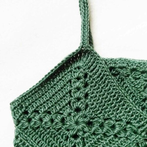 Pine cross summer top free crochet pattern close-up on top detail