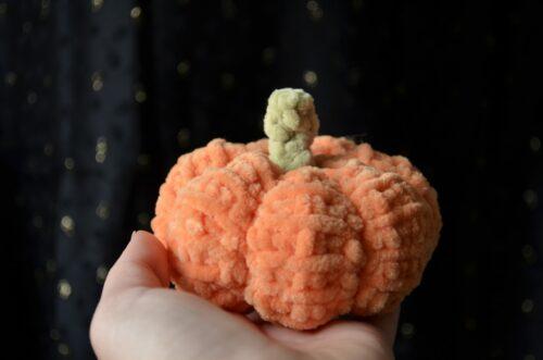 Small Tunisian crochet pumpkin made with chenille yarn