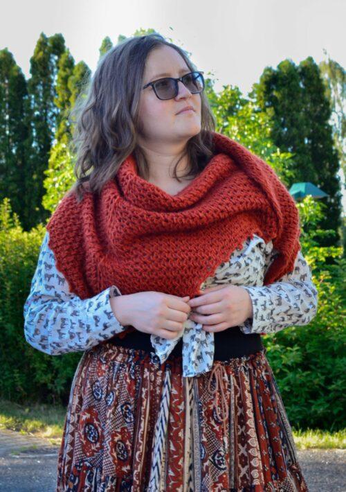 Porphyry shawl Tunisian crochet pattern yarnandy-14