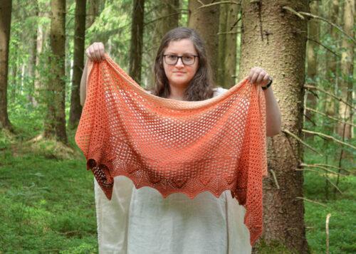 Crisp peach Tunisian crochet lace rectangle wrap pattern 4