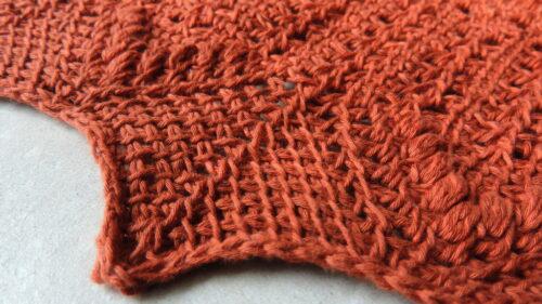 Crisp peach Tunisian crochet lace rectangle wrap pattern